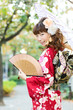 Beautiful japanese kimono woman in the town