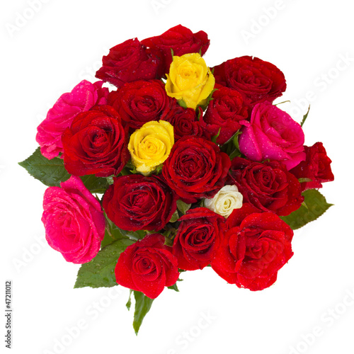 round bouquet of roses