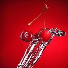 cherry in water splash