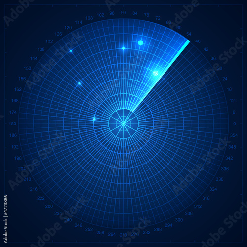 Blue radar screen