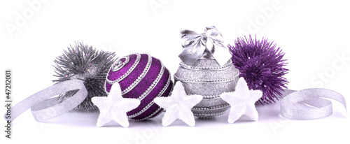 Christmas balls with stars isolated on white background closeup.