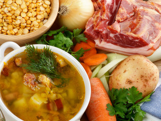 Ingredients and Pea Soup