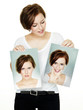 canvas print picture - Woman shows her varying attitudes an expression of emotions