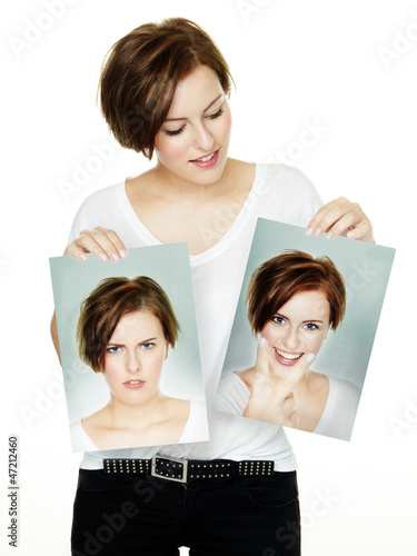 canvas print picture Woman shows her varying attitudes an expression of emotions
