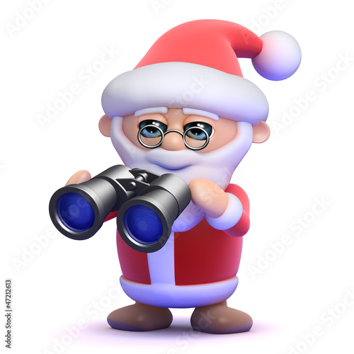 Santa looks his through his Xmas binoculars