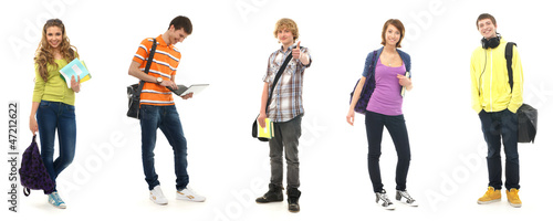 A groupe of teenagers in modern clothes on a white background