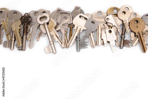 Leinwanddruck Bild Close row of keys head
