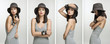 A collage of young woman in a grey dress and a hat