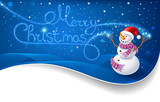 Fototapety Snowman with Christmas text