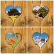 Collage paysage, coeurs en bois