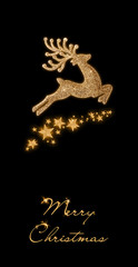 Golden Christmas deer and stars on a black background