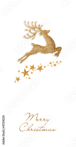 Golden Christmas deer and stars on a white background