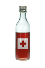 First Aid Bottle with Potion and Red Cross