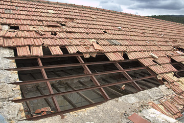 Roof destroyed by the storm