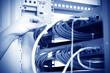 Data center servers and fiber optic cable