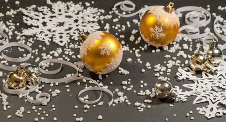 Paper Background  and gold christmas balls