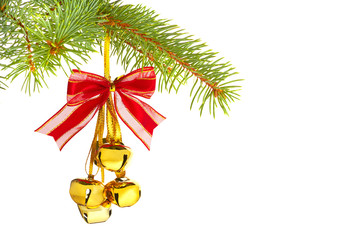 Christmas decoration with bells isolated on white background