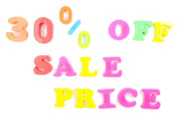 30% off sale price written in fridge magnets