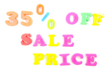 35% off sale price written in fridge magnets