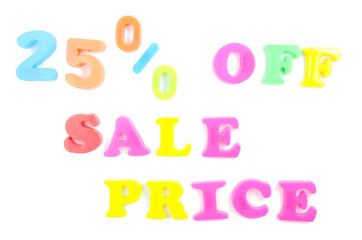 25% off sale price written in fridge magnets