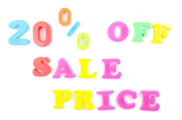 20% off sale price written in fridge magnets