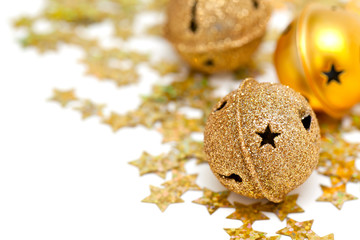 golden Christmas bells and stars