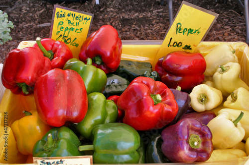 Peppers at a farmers market vegetable stand