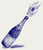 Fototapety Champagne explosion. Doodle style
