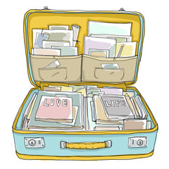 suitcase and book