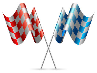 Red and blue checkered flags.