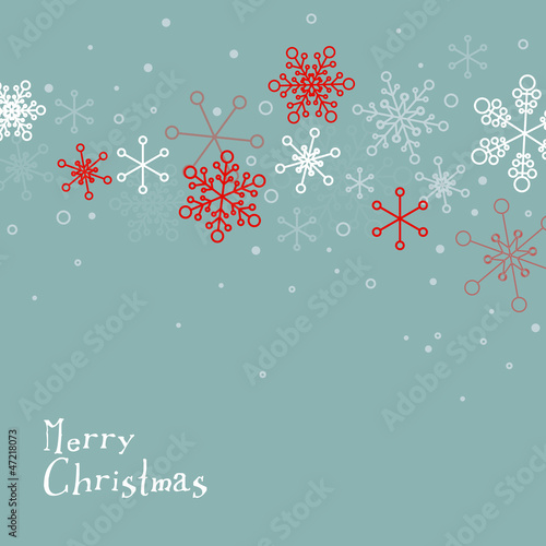 Retro simple Christmas card with snowflakes