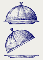 Cloche with open lid. Doodle style
