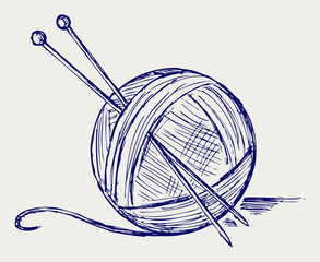 Yarn balls with needles. Doodle style