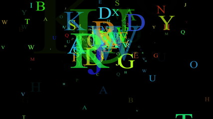 Alphabet, isolated on black background, loop