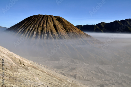 Gunung Bromo valley in fog