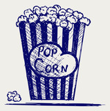 Popcorn exploding inside the packaging. Doodle style