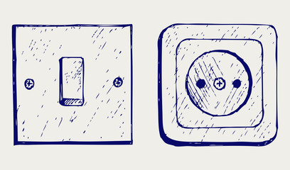 Single light switch and socket. Doodle style