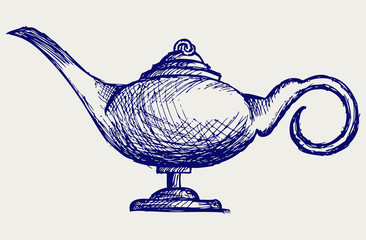 Magic lamp. Doodle style