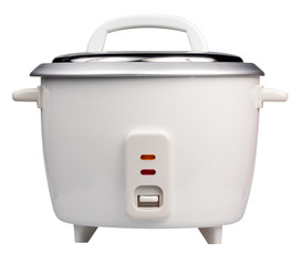 Electric rice cooker isolated on white