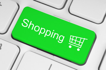 Shopping cart icon on green keyboard key