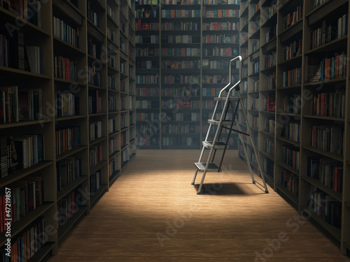books in dark library