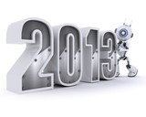 Robot with 2013 celebrating the new year