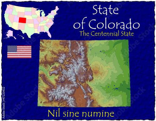 Colorado USA State map location nickname motto