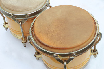Bongo drums on a white background