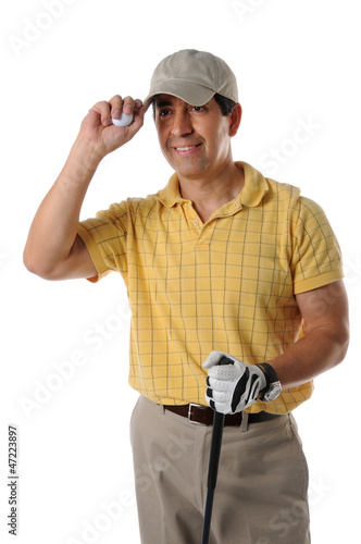 Mature Hispanic golfer