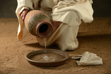 Jesus with a jug of water