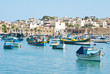Colorful traditional fishing boats in the island of Malta