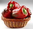 sweet red peppers in basket