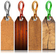 Set of Wooden Tags with Metal Ring - 4 items