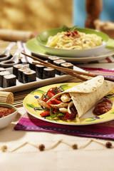 international food served on table